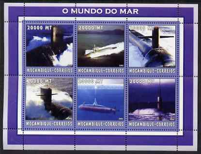Mozambique 2002 Submarines perf sheetlet containing 6 values unmounted mint Yv 2174-79