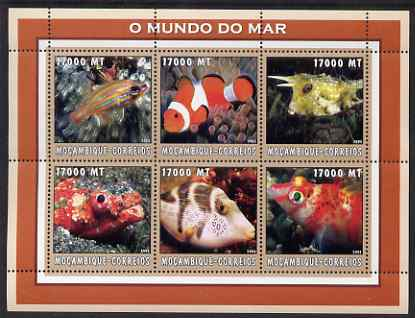 Mozambique 2002 Tropical Fish #1 perf sheetlet containing 6 values unmounted mint Yv 2180-85