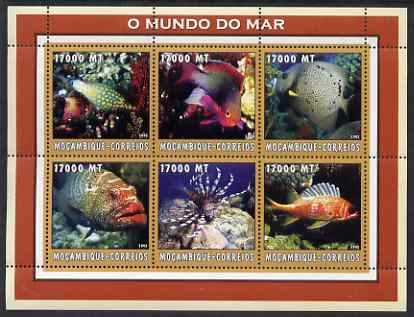Mozambique 2002 Tropical Fish #2 perf sheetlet containing 6 values unmounted mint Yv 2186-91