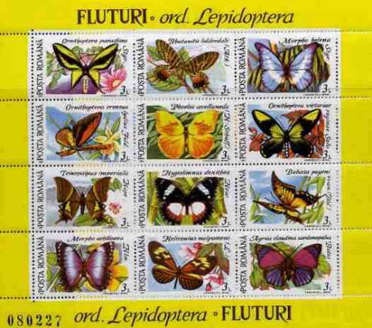 Rumania 1991 Butterflies #1 sheetlet containing 12 values Mi BL 267