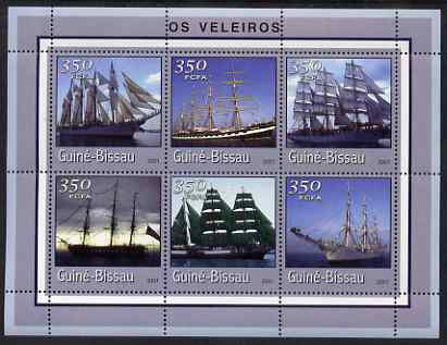 Guinea - Bissau 2001 Tall Ships perf sheetlet containing 6 values (350 FCFA) unmounted mint Mi 1707-12