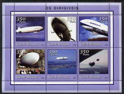 Guinea - Bissau 2001 Zeppelins perf sheetlet containing 6 values (350 FCFA) unmounted mint Mi 1773-78