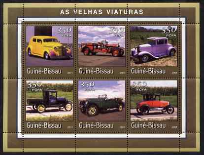 Guinea - Bissau 2001 Old Cars perf sheetlet containing 6 values (350 FCFA) unmounted mint Mi 1731-36