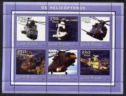 Guinea - Bissau 2001 Helicopters perf sheetlet containing 6 values (350 FCFA) unmounted mint Mi 1767-72