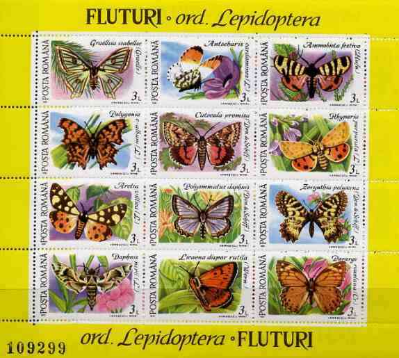 Rumania 1991 Butterflies #2 sheetlet containing 12 values Mi BL 268