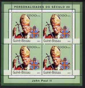 Guinea - Bissau 2001 Pope John Paul II perf sheetlet containing 4 values unmounted mint Mi 1968