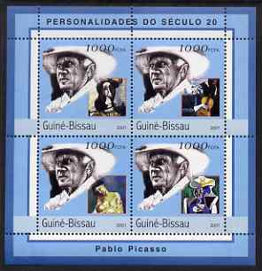 Guinea - Bissau 2001 Pablo Picasso perf sheetlet containing 4 values unmounted mint Mi 1972-75