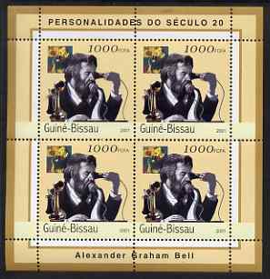 Guinea - Bissau 2001 Alexander Graham Bell perf sheetlet containing 4 values unmounted mint Mi 1960