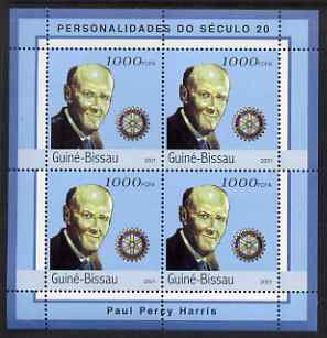 Guinea - Bissau 2001 Paul Harris perf sheetlet containing 4 values unmounted mint Mi 1966