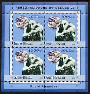 Guinea - Bissau 2001 Roald Amundsen perf sheetlet containing 4 values unmounted mint Mi 1962