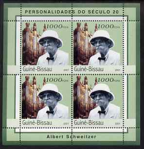Guinea - Bissau 2001 Albert Schweitzer perf sheetlet containing 4 values unmounted mint Mi 1963