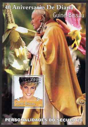 Guinea - Bissau 2001 Princess Diana (40th Anniversary) & Pope John Paul II perf s/sheet containing 1 value unmounted mint Mi BL372