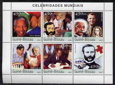 Guinea - Bissau 2003 Celebrites #2 perf sheetlet containing 6 values (Mandela, Dunant, Diana, Einstein, Gagarin, Newton, Karpov, Pope & Senghor) unmounted mint Mi 2421-26