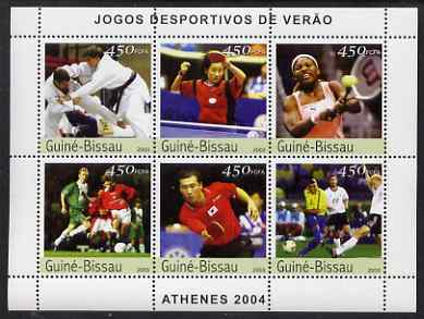 Guinea - Bissau 2003 Athens Olympic Games perf sheetlet containing 6 values (Judo, Table Tennis, Tennis & Football) unmounted mint Mi 2381-86