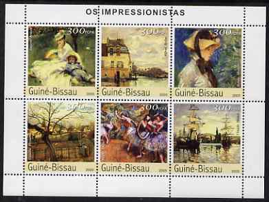 Guinea - Bissau 2003 Impressionist Paintings #2 perf sheetlet containing 6 values unmounted mint Mi 2303-08