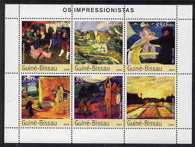 Guinea - Bissau 2003 Impressionist Paintings #3 perf sheetlet containing 6 values unmounted mint Mi 2309-14