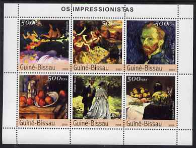 Guinea - Bissau 2003 Impressionist Paintings #4 perf sheetlet containing 6 values unmounted mint Mi 2321-26