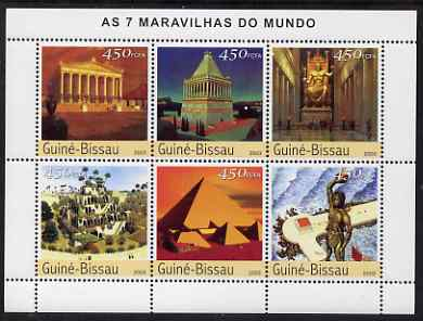 Guinea - Bissau 2003 Seven Wonders of the World perf sheetlet containing 6 values unmounted mint Mi 2394-99