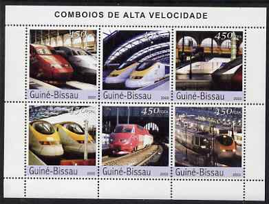 Guinea - Bissau 2003 Modern Trains perf sheetlet containing 6 values unmounted mint Mi 2408-13