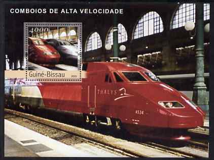 Guinea - Bissau 2003 Modern Trains perf s/sheet containing 1 value (Thalys) unmounted mint Mi BL421