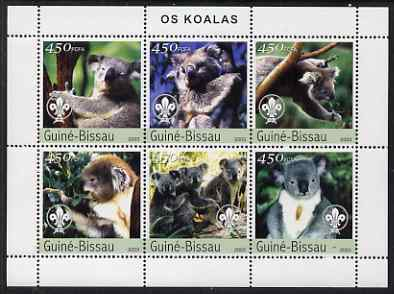 Guinea - Bissau 2003 Koala Bears perf sheetlet containing 6 values each with Scout Logo unmounted mint Mi 2351-56