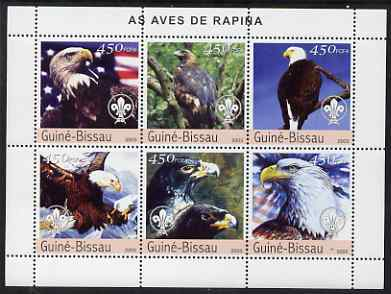 Guinea - Bissau 2003 Birds of Prey perf sheetlet containing 6 values each with Scout Logo unmounted mint Mi 2345-50