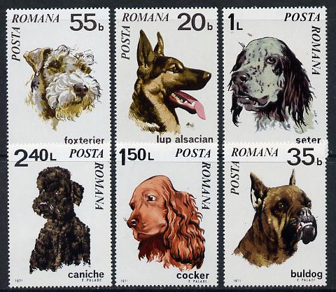 Rumania 1971 Dogs set of 6 unmounted mint, SG 3788-93, Mi 2908-13