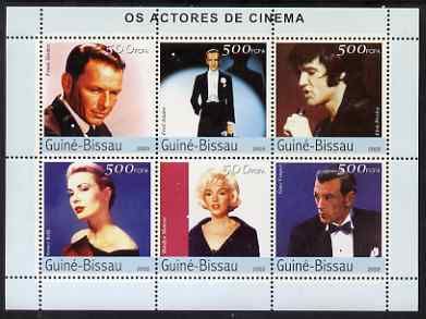 Guinea - Bissau 2003 Cinema Stars perf sheetlet containing 6 values (Sinatra, Fred Astaire, Elvis, Grace Kelly, Marilyn & Gary Cooper) unmounted mint Mi 2608-13