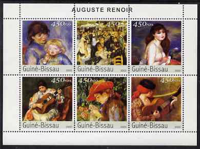 Guinea - Bissau 2003 Paintings by Renoir perf sheetlet containing 6 values unmounted mint Mi 2670-75