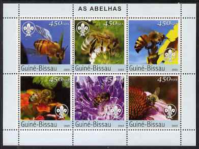 Guinea - Bissau 2003 Bees perf sheetlet containing 6 values (each with Scouts logo) unmounted mint Mi 2636-41