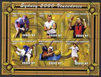 Mozambique 2001 Sydney Olympics perf sheetlet #4 containing 6 values unmounted mint, (Cycling, Judo, Table Tennis, Tennis, Water Polo & Football) Mi 1912-17