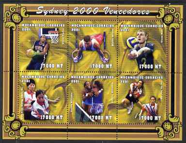 Mozambique 2001 Sydney Olympics perf sheetlet #5 containing 6 values unmounted mint, (Tennis, Basketball, Rings, Volleyball & Table Tennis) Mi1906-11