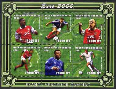 Mozambique 2001 Euro 2000 Football Championship perf sheetlet #1 (France) containing 6 values unmounted mint, Mi 1956-61