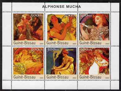 Guinea - Bissau 2003 Paintings by Mucha #1 perf sheetlet containing 6 values unmounted mint Mi 2555-60