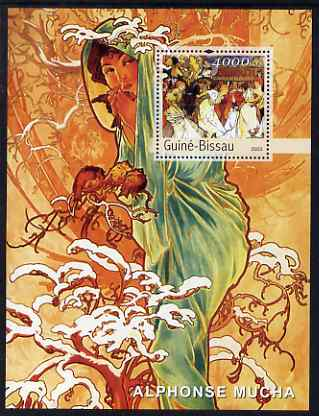 Guinea - Bissau 2003 Paintings by Mucha #2 perf s/sheet containing 1 value unmounted mint Mi BL440, stamps on arts, stamps on moucha, stamps on women