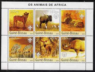 Guinea - Bissau 2003 Animals of Africa #1 perf sheetlet containing 6 values each with Scout Logo unmounted mint Mi 2438-43