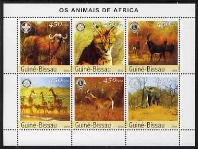 Guinea - Bissau 2003 Animals of Africa #2 perf sheetlet containing 6 values with Scout, Lions & Rotary Logos unmounted mint Mi 2444-49