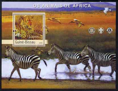 Guinea - Bissau 2003 Animals of Africa #1 perf s/sheet containing 1 value with Scout, Lions & Rotary Logos unmounted mint Mi BL427