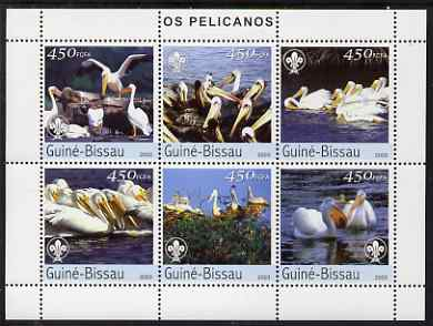 Guinea - Bissau 2003 Pelicans perf sheetlet containing 6 values each with Scout Logo unmounted mint Mi 2464-69
