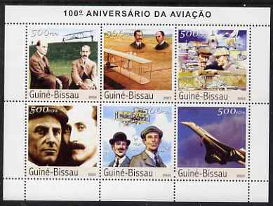 Guinea - Bissau 2003 Centenary of Aviation perf sheetlet containing 6 values (Wright Brothers & Concorde) unmounted mint Mi 2524-29