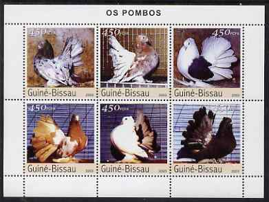 Guinea - Bissau 2003 Pigeons perf sheetlet containing 6 values unmounted mint Mi 2476-81