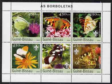 Guinea - Bissau 2003 Butterflies perf sheetlet containing 6 values each with Scout Logo unmounted mint Mi 2482-87