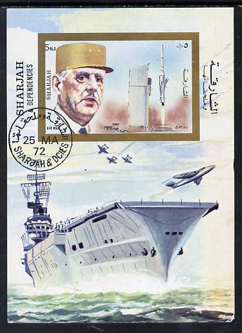 Sharjah 1972 Charles de Gaulle m/sheet (with Rocket and Aircraft Carrier) cto used Mi BL 96
