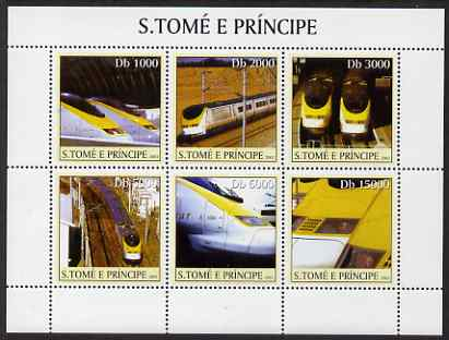 St Thomas & Prince Islands 2003 Eurostar Locomotives perf sheetlet containing 6 values unmounted mint Mi 2344-49, Sc 1561