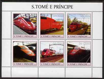 St Thomas & Prince Islands 2003 Thalys Locomotives perf sheetlet containing 6 values unmounted mint Mi 2338-43, Sc 1554, stamps on railways