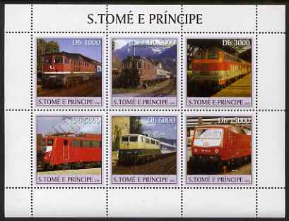 St Thomas & Prince Islands 2003 Railway Locomotives #1 perf sheetlet containing 6 values unmounted mint Mi 2326-31, Sc 1555