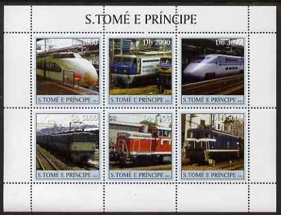 St Thomas & Prince Islands 2003 Railway Locomotives #3 perf sheetlet containing 6 values unmounted mint Mi 2320-25, Sc 1556