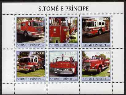 St Thomas & Prince Islands 2003 Fire Engines perf sheetlet containing 6 values unmounted mint Mi 2277-82, Sc 1472