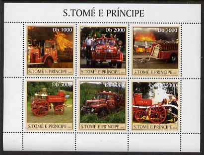 St Thomas & Prince Islands 2003 Old Fire Engines perf sheetlet containing 6 values unmounted mint Mi 2271-76, Sc 1471