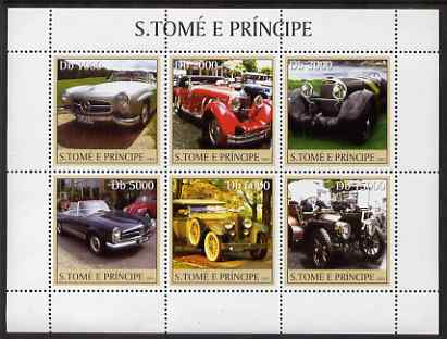 St Thomas & Prince Islands 2003 Mercedes Cars perf sheetlet containing 6 values unmounted mint Mi 2229-34, Sc 1544